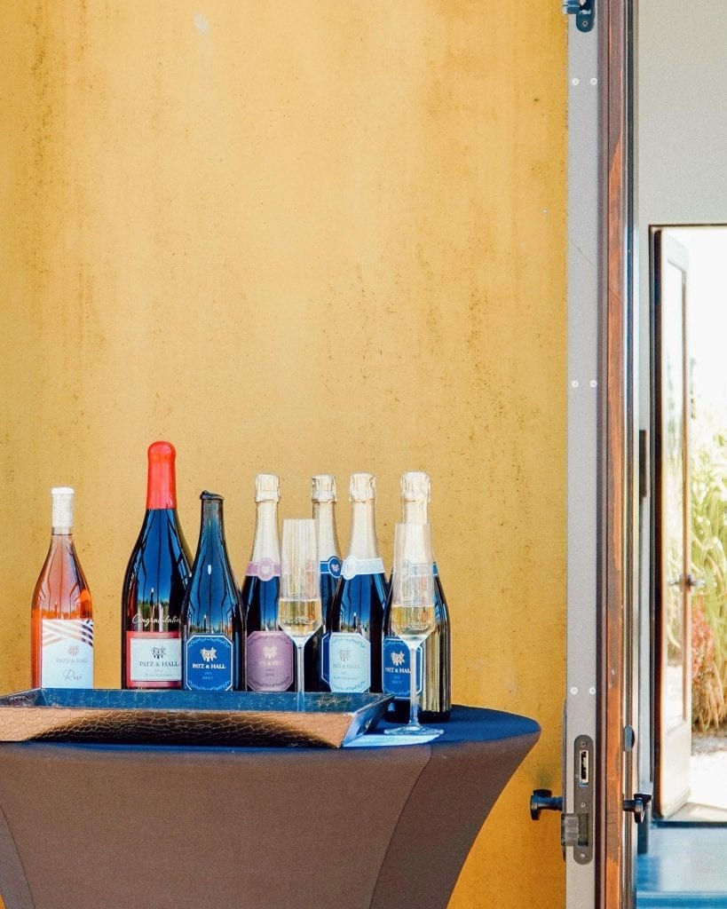 Patz and Hall wines lined up outside the Sonoma House tasting salon