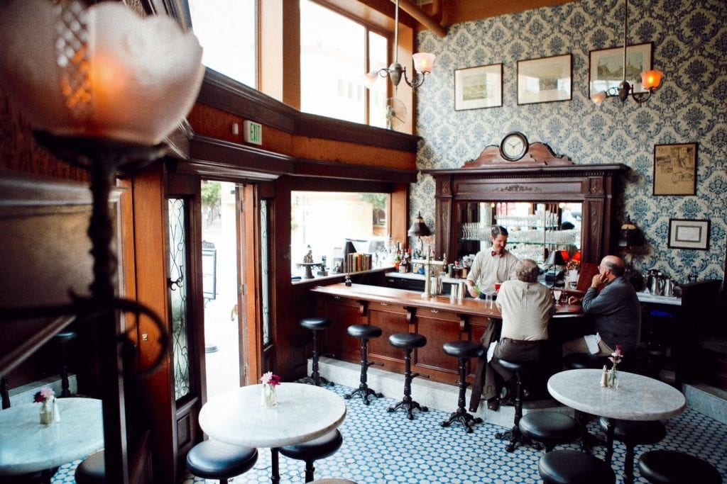 The historic Barbary Coast bar, Comstock Saloon, in San Francisco's North Beach neighborhood.